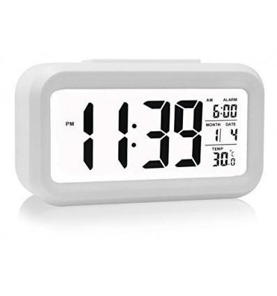 Reloj Despertador Sensor Luz Lcd Digital Alarma Temperatura