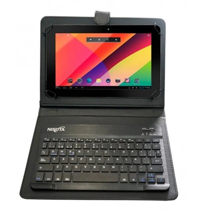Funda Cuero Tablet 9-10.1 P. Teclado Bluetooth+iman Nisuta