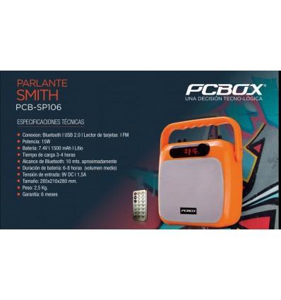 Parlante PCBOX Smith, Bluetooth | USB 2.0 | Lector de Tarjetas | FM