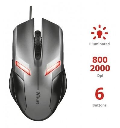 Mouse Trust Ziva Gaming Iluminado 6 Botones Gamer