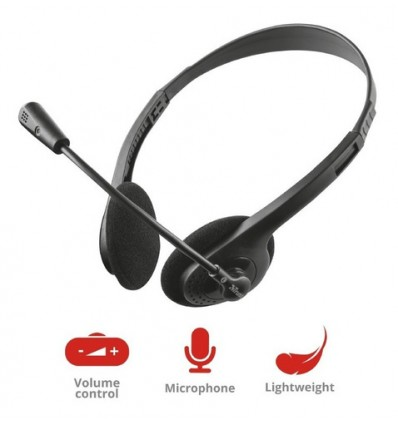 Auriculares Trust Chat Con Microfono Pc Notebook Celular Cable 1.8m