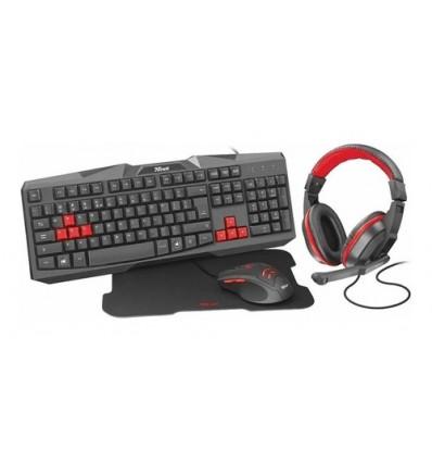 Combo Trust Gaming Ziva 4 En 1 Mouse Auri Teclado Pad Gamer