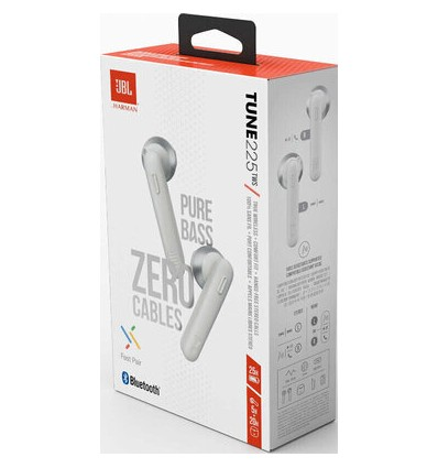 Auriculares Bluetooth Jbl Tune 225tws Blancos Con Estuche